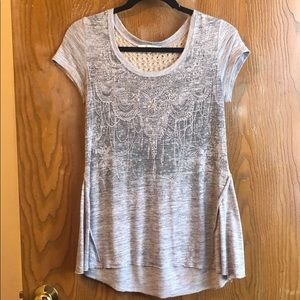 Grey, knit back, bedazzled t-shirt blouse